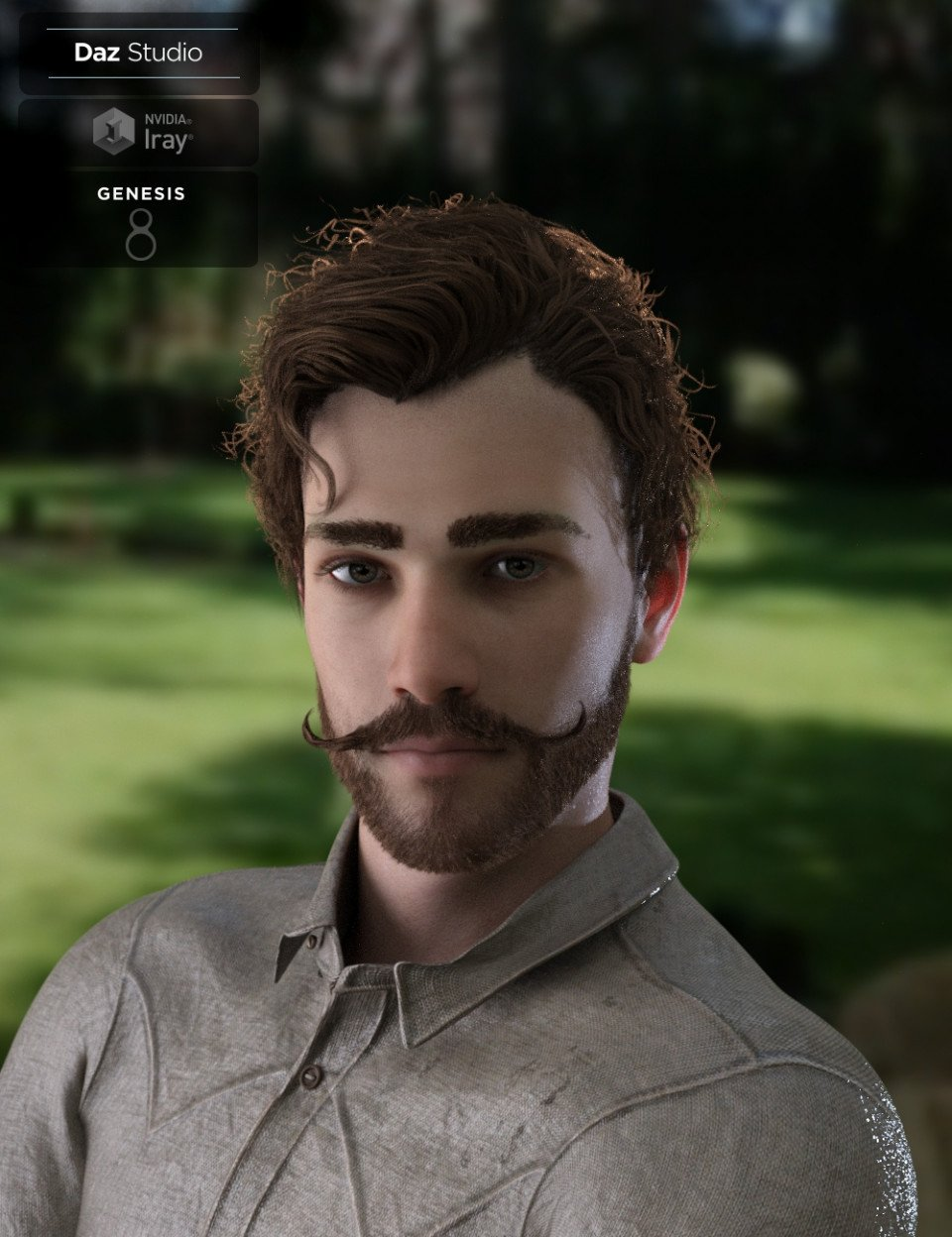 Bastien Curly Hair and Beard for Genesis 8 Male(s)_DAZ3D下载站