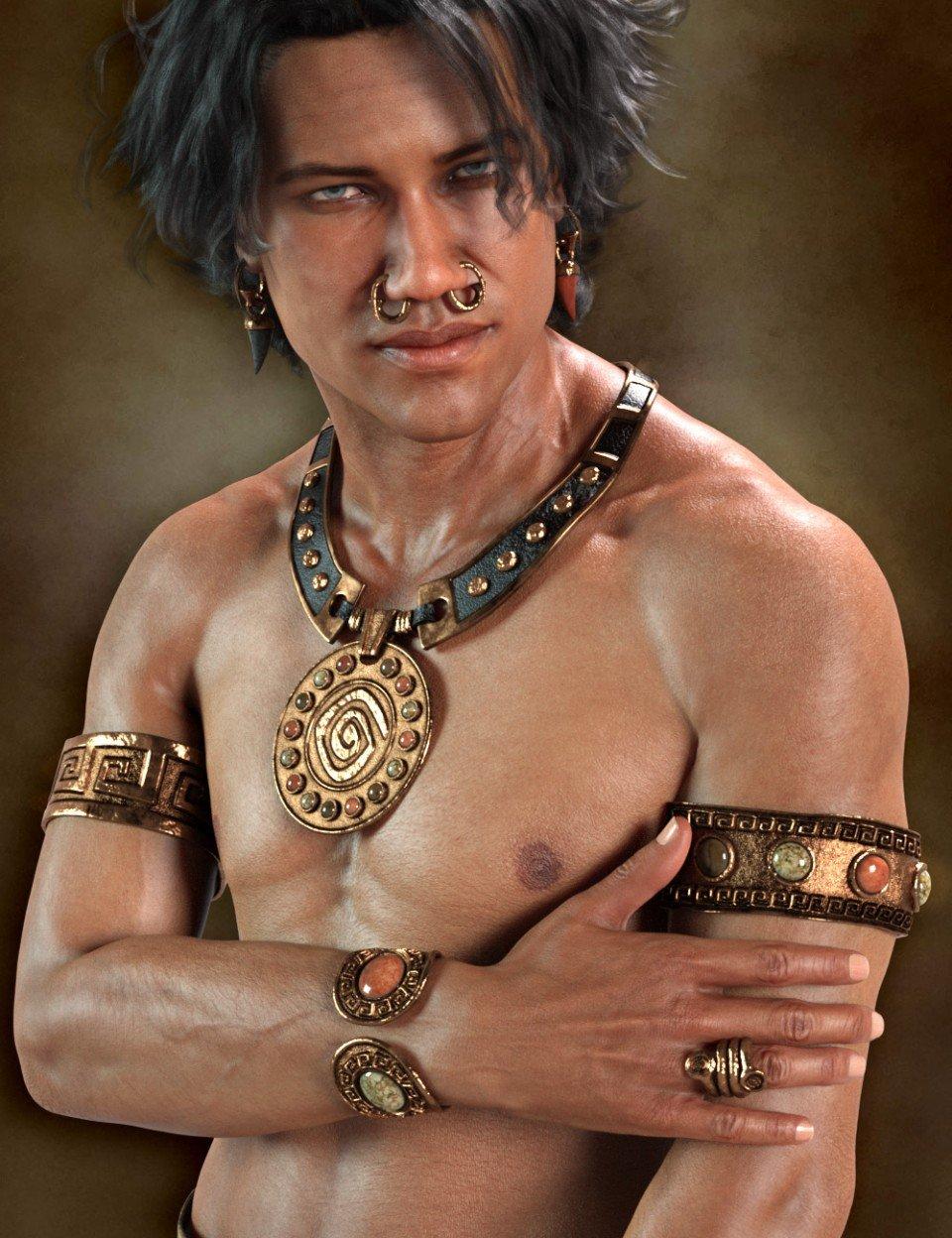 Chieftain Jewelry for Genesis 8 Male(s)_DAZ3D下载站