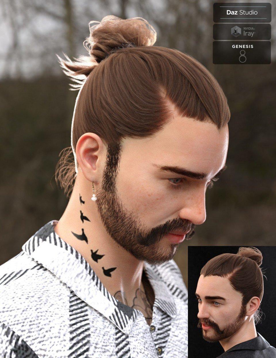 Yvanovich Bun Hair and Beard for Genesis 8 Male(s)_DAZ3D下载站