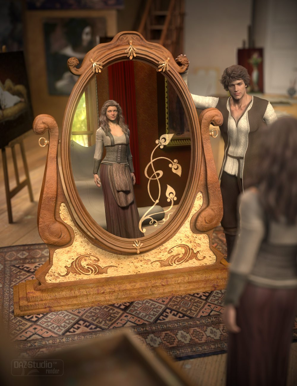 Deco Mirror_DAZ3D下载站