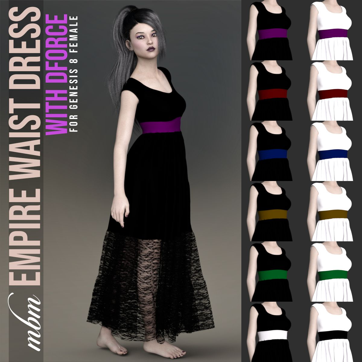 MbM Empire Waist Dress for Genesis 8 Female_DAZ3D下载站
