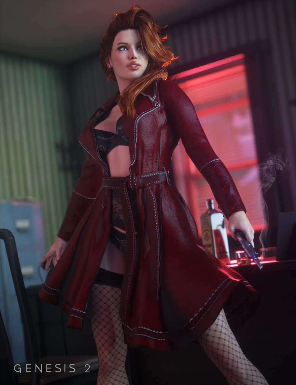 Sinful Nights Lingerie and Overcoat for Genesis 2 Female(s) + Textures_DAZ3D下载站