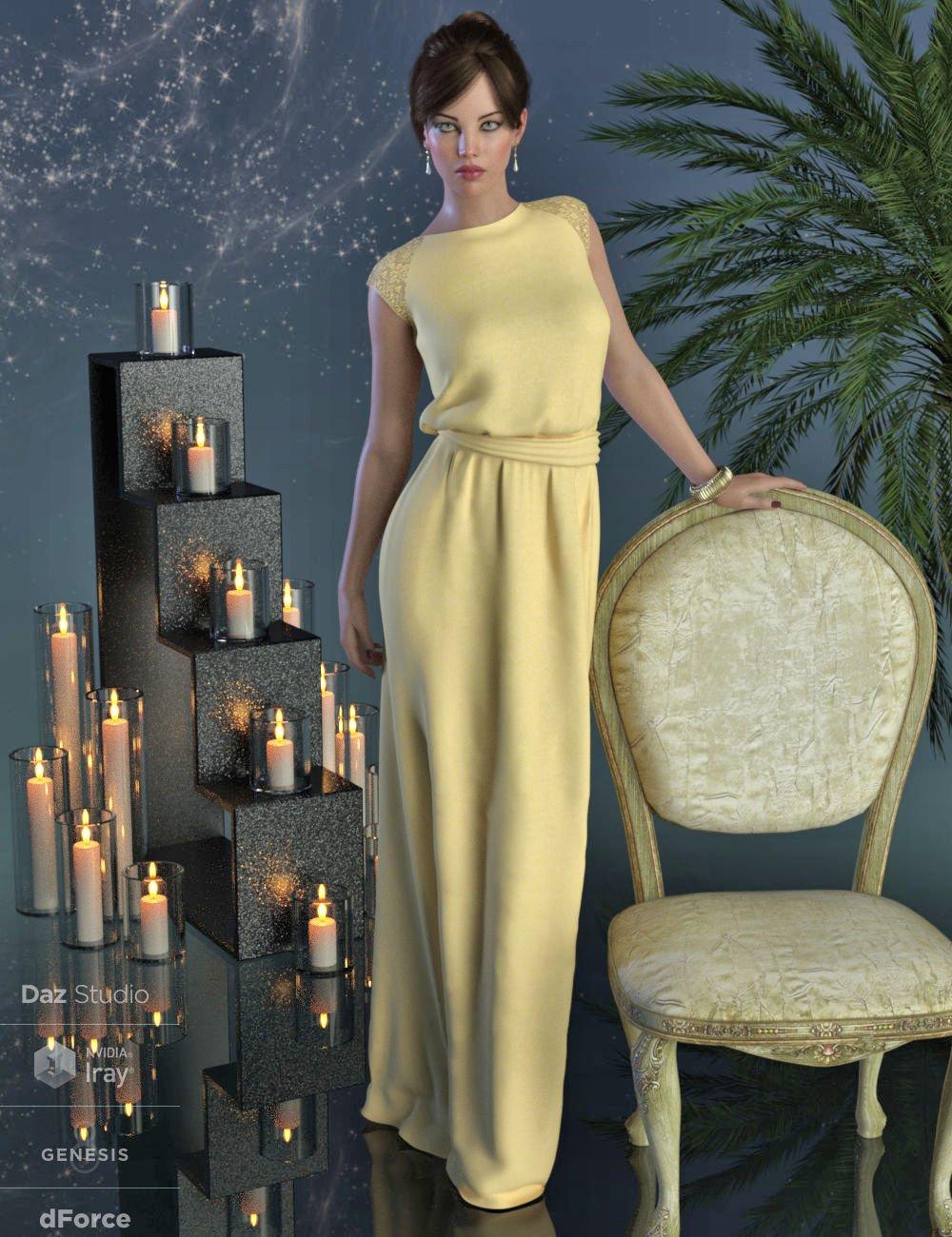 dForce Angelica Gown for Genesis 8 Female(s)_DAZ3D下载站