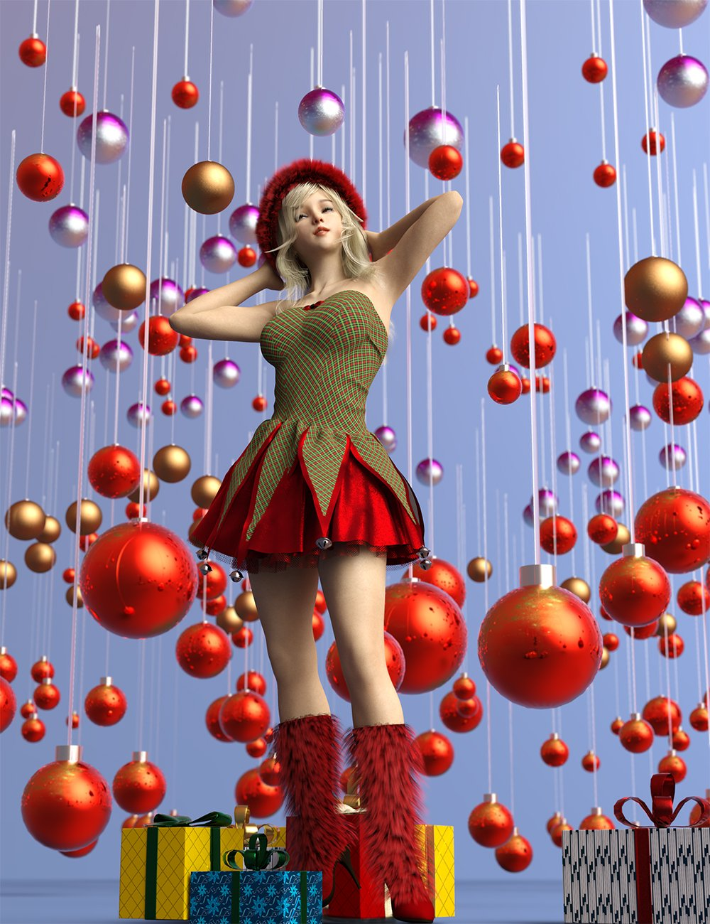 Festive Balls – Low Res Decorations and Shaders_DAZ3D下载站