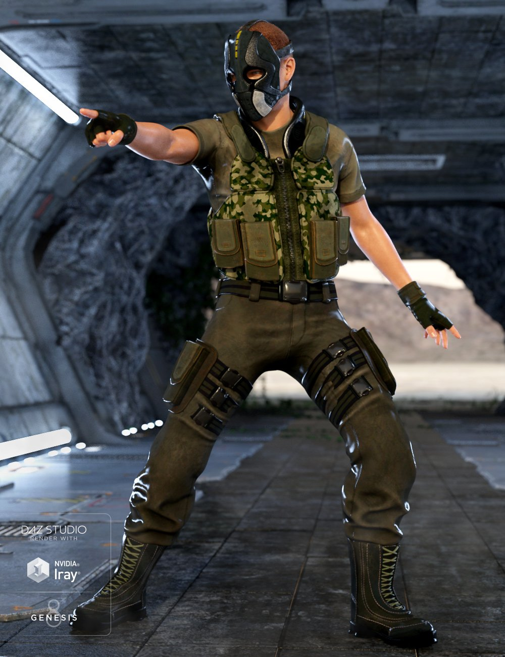 Renegade Soldier Outfit for Genesis 8 Male(s)_DAZ3D下载站