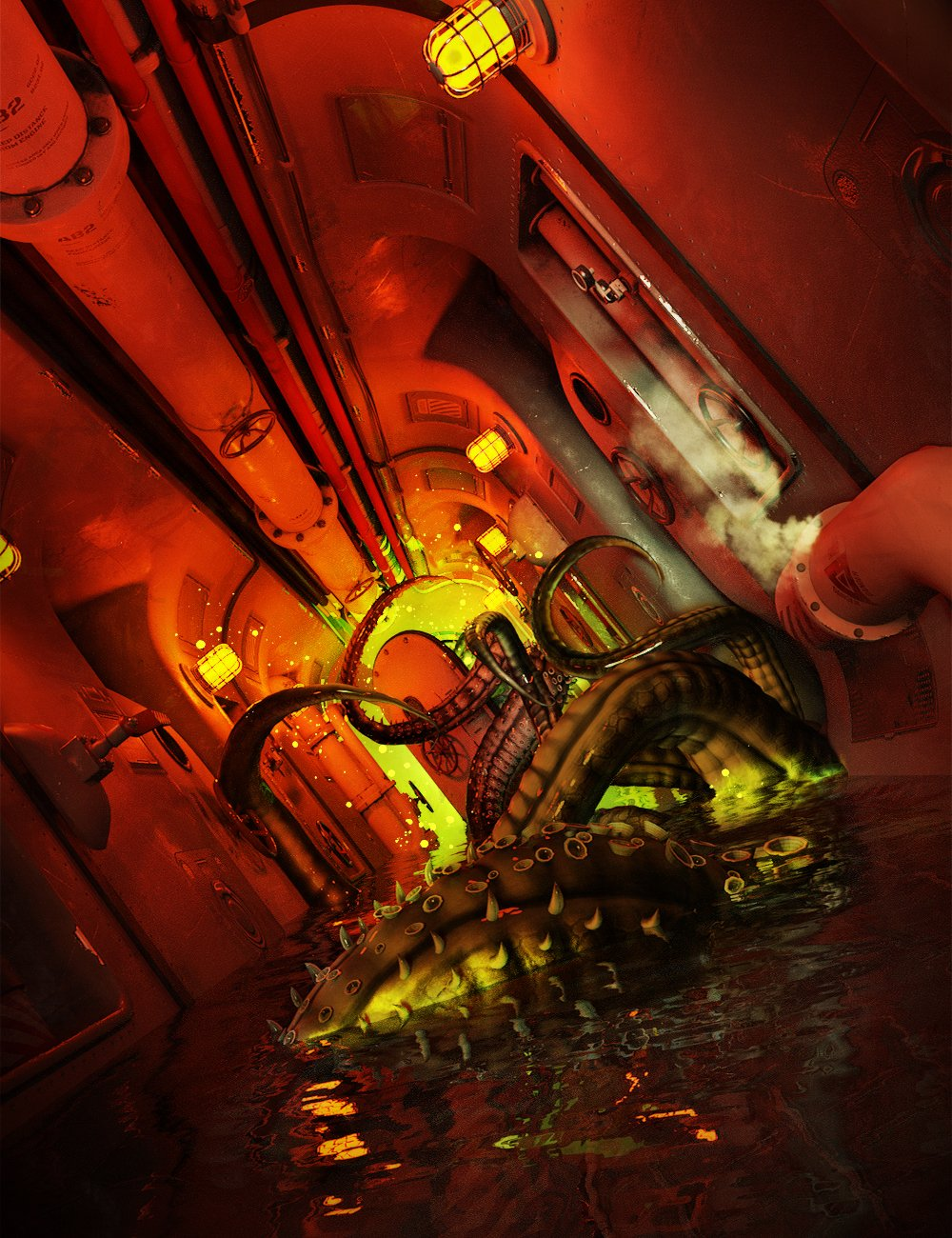 Submarine Corridor Kit_DAZ3D下载站