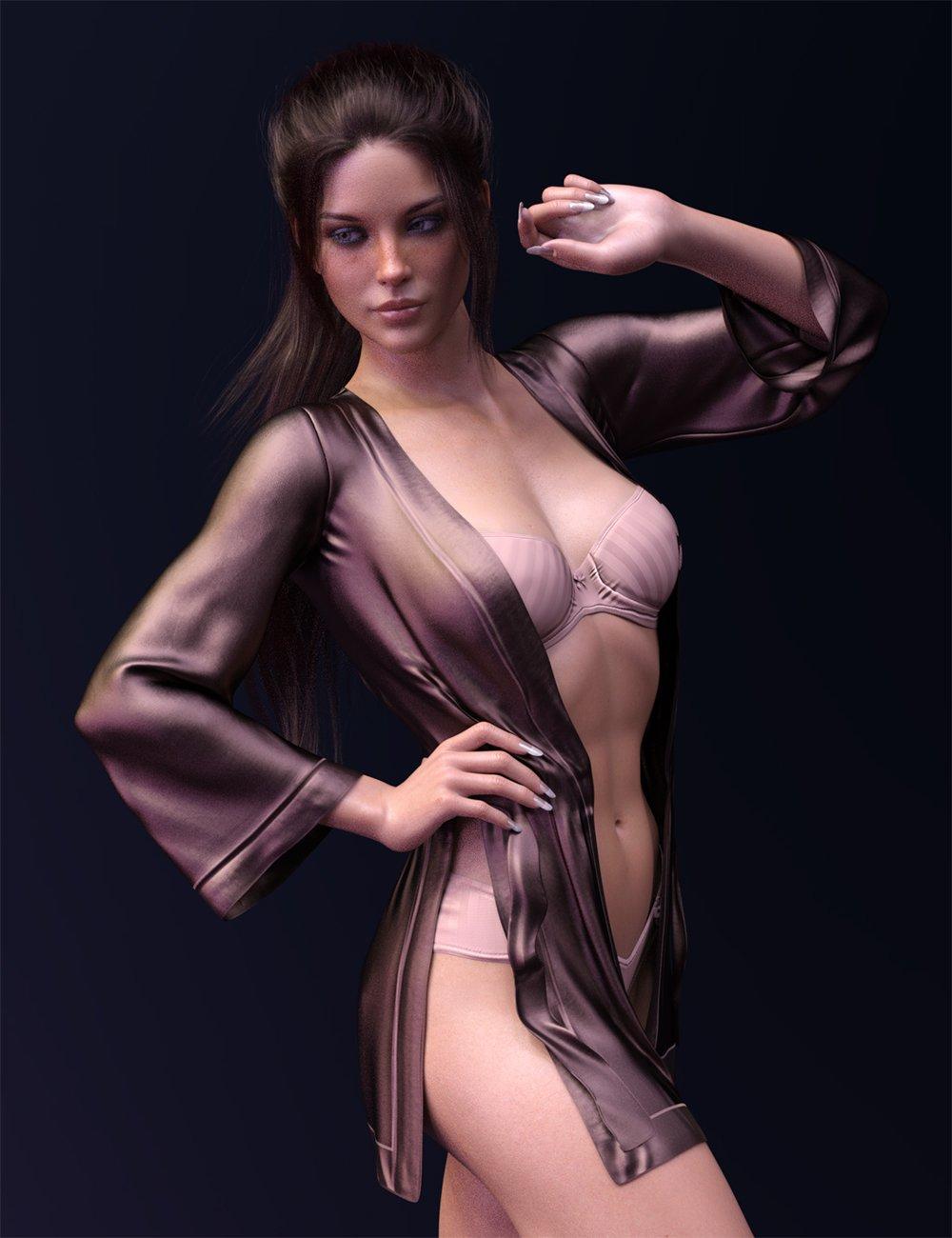 dForce X-Fashion Kimono Lingerie Set for Genesis 8 Females_DAZ3D下载站