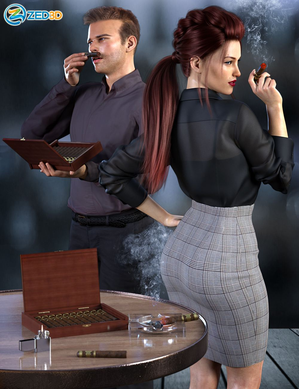 Z Smoke and Cigars Props and Poses for Genesis 8_DAZ3D下载站