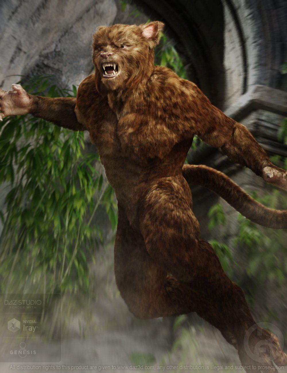 Cat Beast with dForce Hair for Genesis 8 Male_DAZ3D下载站