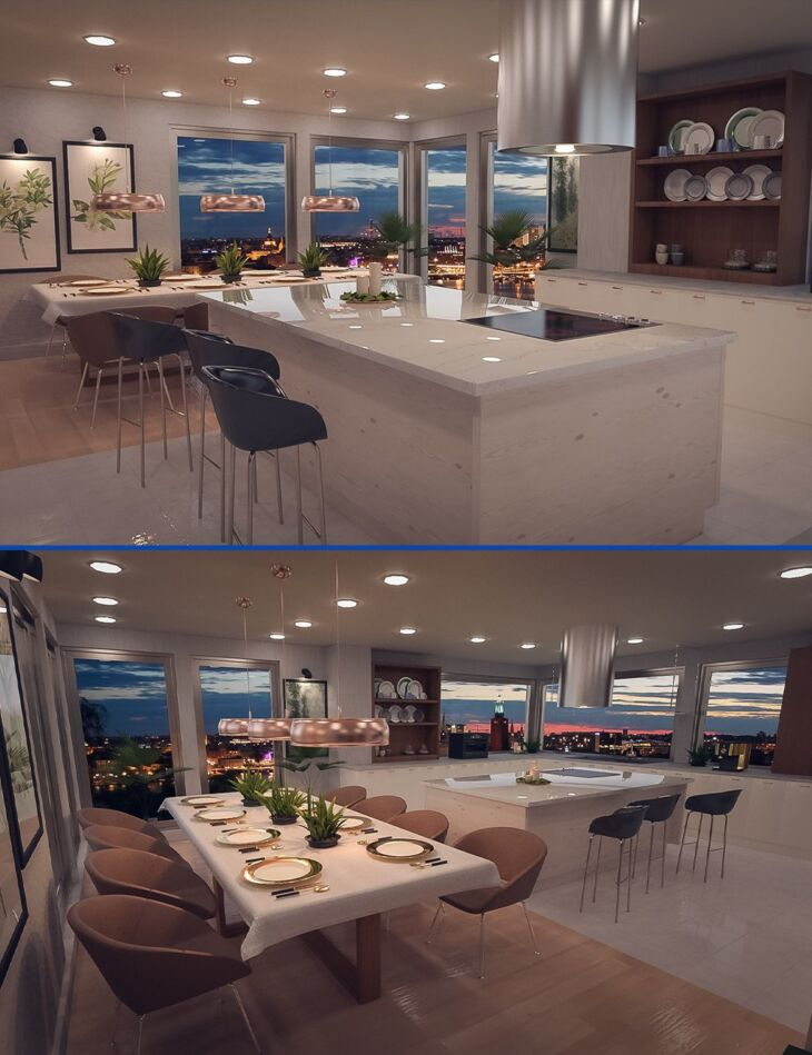 Polished Dining and Kitchen_DAZ3D下载站